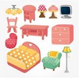 Conjunto lindo del icono de los muebles de la historieta Foto de archivo