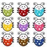 Conjunto lindo del Ladybug de la historieta Fotografía de archivo
