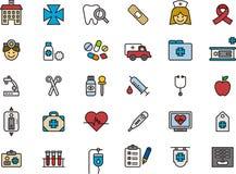 Conjunto médico del icono Fotos de archivo