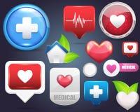Conjunto médico del vector del icono Imagen de archivo