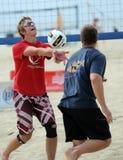 Conjunto masculino del voleibol de la playa Foto de archivo libre de regalías
