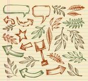 Conjunto mega del bosquejo del Doodle del cuaderno Fotografía de archivo