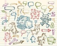 Conjunto mega del vector del Doodle del bosquejo Foto de archivo libre de regalías