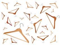 Conjunto mezclado de las perchas de madera ilustración del vector