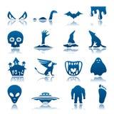 Conjunto misterioso y del horror del icono Imágenes de archivo libres de regalías