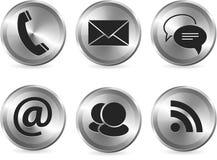 Conjunto moderno con estilo metálico del icono de la comunicación Foto de archivo libre de regalías