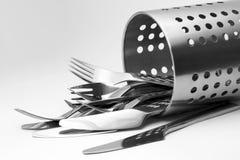 Conjunto moderno de la cuchillería Imagenes de archivo