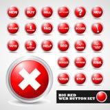 Conjunto moderno rojo del botón del Web Imagenes de archivo