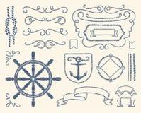 Conjunto náutico de la decoración Foto de archivo libre de regalías