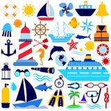 Conjunto náutico del icono Imagenes de archivo