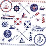 Conjunto náutico del icono Foto de archivo libre de regalías