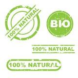 conjunto natural del sello del grunge del 100% Foto de archivo libre de regalías