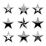 Conjunto negro de la estrella ilustración del vector