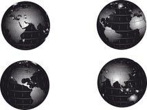 Conjunto negro del globo de la tierra Foto de archivo libre de regalías