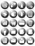 Conjunto negro del icono del asunto Imagen de archivo
