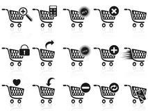 Conjunto negro del icono del carro de compras Imágenes de archivo libres de regalías
