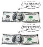 Conjunto optimista o pesimista de 100 dólares Imagen de archivo libre de regalías