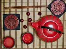 Conjunto oriental de la ceremonia de té Imagen de archivo libre de regalías