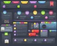 Conjunto oscuro del diseño del vector de los elementos del Web