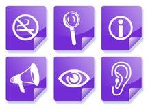 Conjunto púrpura del icono de la información Fotografía de archivo libre de regalías