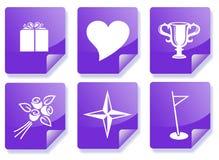 Conjunto púrpura del icono de la información Fotos de archivo libres de regalías