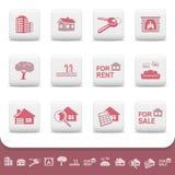 Conjunto profesional del icono del asunto de las propiedades inmobiliarias Imagen de archivo libre de regalías