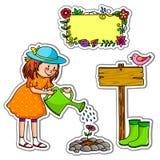 Conjunto que cultiva un huerto libre illustration
