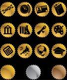 Conjunto redondo del botón del negro del oro de la educación Fotos de archivo libres de regalías