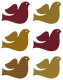 Conjunto retro de la paloma aislado en el blanco (marrón) Imagen de archivo libre de regalías