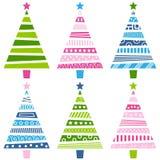 Conjunto retro del árbol de navidad ilustración del vector
