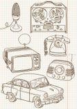 Conjunto retro del Doodle Imagen de archivo libre de regalías