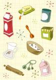 Conjunto retro del icono de la cocina Imágenes de archivo libres de regalías