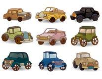Conjunto retro del icono del coche de la historieta Foto de archivo
