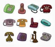 Conjunto retro divertido del icono del teléfono de la historieta Imagen de archivo