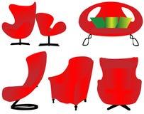 Conjunto rojo aislado de los muebles Imágenes de archivo libres de regalías