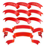 Conjunto rojo de la bandera del vector stock de ilustración