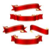 Conjunto rojo de la colección de la bandera de la cinta stock de ilustración