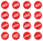 Conjunto rojo de la etiqueta engomada Fotografía de archivo libre de regalías