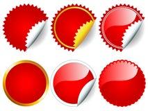 Conjunto rojo de la etiqueta engomada Fotos de archivo libres de regalías