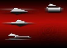 Conjunto rojo de la insignia de la tecnología Fotos de archivo libres de regalías