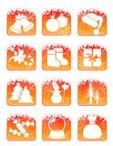 Conjunto rojo del icono del día de fiesta de invierno que nieva stock de ilustración