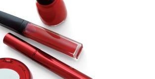 Conjunto rojo del maquillaje Imágenes de archivo libres de regalías