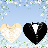 Conjunto romántico de la boda Fotografía de archivo