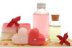 Conjunto rosado del baño Fotos de archivo libres de regalías