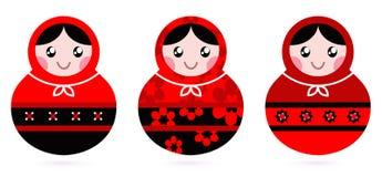 Conjunto ruso de la muñeca stock de ilustración