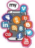 Conjunto social de la voz de la insignia stock de ilustración