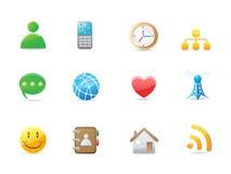 Conjunto social del icono del Internet Fotos de archivo libres de regalías