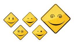 Conjunto sonriente del icono de la muestra de camino Foto de archivo libre de regalías