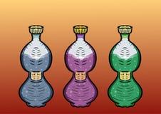 conjunto Tres botellas de bebidas Ilustración del vector Imagen de archivo libre de regalías