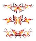 Conjunto tribal con las mariposas, tatuaje Fotografía de archivo libre de regalías